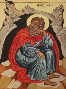 Icon of Elijah at the mouth of the cave (Wikimedia Commons image)