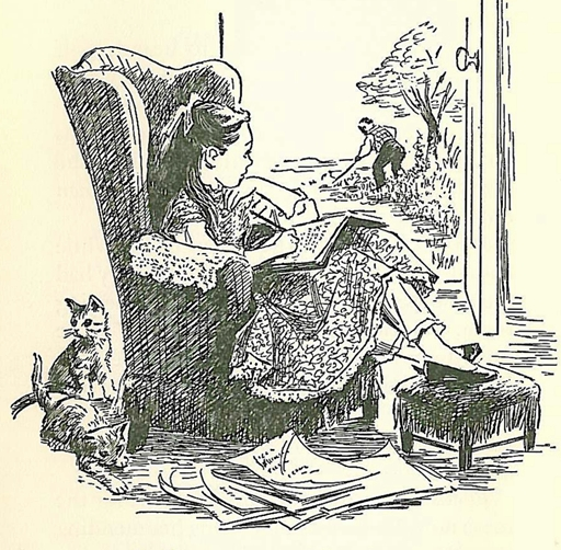 Louisa May Alcott in her own room, illustration by Flora Smith from The Story of Louisa May Alcott by Joan Howard