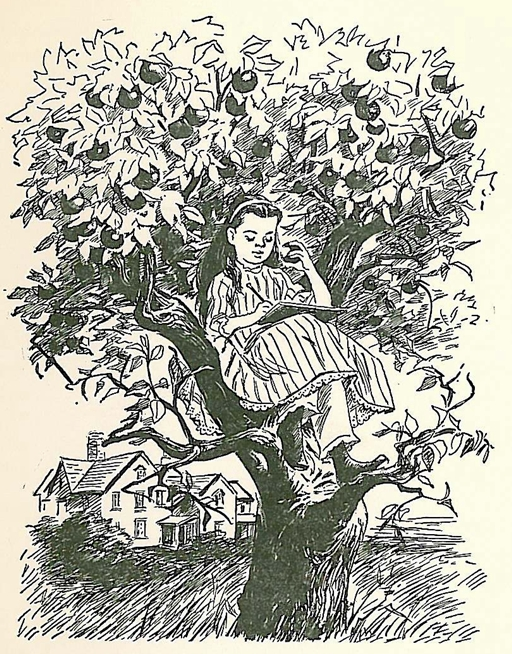 """I write best up in the apple tree""; illustration by Flora Smith."