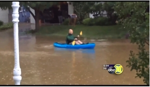 kayaking in the front yard