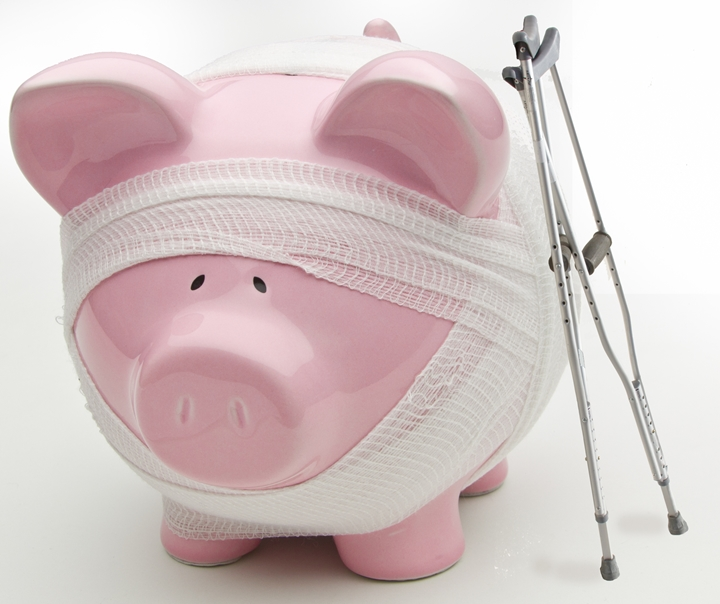 Injured Piggy Bank With Crutches Ken Teegardin, Flickr Creative Commons