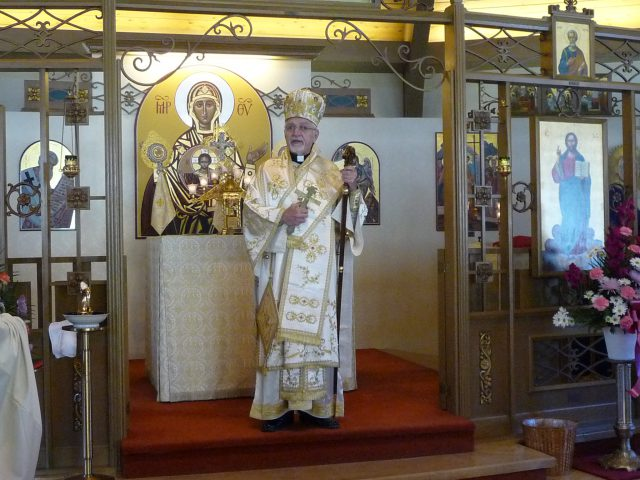 Bishop Nicholas Samra celebrates liturgy at Our Lady of Perpetual Help Church in Worcester, MA.